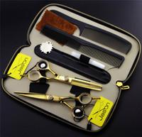 Оптовая продажа-5.5 или 6,0 дюйма профессиональные парикмахерские ножницы набор волос резки волос + прореживающие парикмахерские ножницы + Combs + комплекты Японии 440C высокое качество