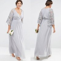 Silver Gray Lace Chiffon Bohemian Plus Size Bridesmaid Dress...