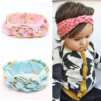 Мода Baby Woven Cross Polka Dot Knot Headbands Top Knot Baby Headwrap Girls Turban Tie Knot Headwear Аксессуары для волос 2016