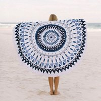 Large Microfiber Printed Round Beach Towels With Tassel Circ...