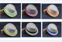 150pcs 6 designs Fashion Straw Panama Fedora Caps Solid Dres...