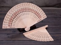 Free Shipping 2018 Two Styles Wooden Carving Hand Fans Hollo...