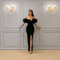 2021 Sexy Sirena Vestidos de noche Barco fuera de hombro con Yoersef Aljasti Labourjoisie Trompeta Vestidos de noche Vestidos de fiesta Divididos delanteros