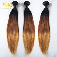 All'ingrosso estensioni dei capelli malesi peruviano diritto Ombre capelli 3pcs 1b 4 27 tre toni colore malese tessuto dei capelli indiani