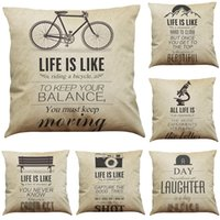 Retro Inspirational Quotes and Sayings Linen Cushion Cover H...