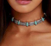 Femme Collier Femme Thai Silber Münzen Böhmischen Türkis Anhänger Colar Statement Halsketten Choker Halskette Vintage Schmuck für Frauen DHN336