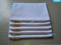 40 sztuk / partia 7x10 cali Pusta Naturalna Bawełna Kosmetyczna Torba Kosmetyczna 12 Oz Naturalny Płótnie Zipper Etui Zwykły Pusta Makeup Torba z Metallic Gold Zipper