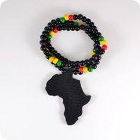 20 st Good Wood NYC X Chase Oneindige Zwarte Afrika Kaart Houten Kralen Ketting Hip Hop Mode-sieraden