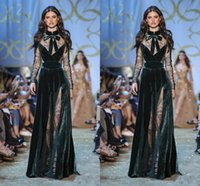 Elie Saab Dark Green Evening Dresses High Neck Lace Sheer Lo...