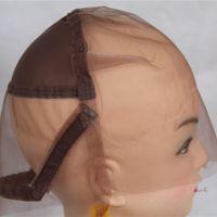 Full Lace Wig Cap para Fazer Perucas Suíço e Francês Lace Cabelo Net com orelha a orelha Estiramento Médio Cor Marrom para Fazer Peruca