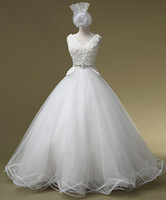Capped V Neck Crystal Organza Tulle Ball Gown Wedding Dress ...