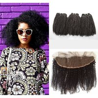 Afro Kinky Curly Full Frontal Lace CLosure With 3pcs Mongoli...