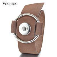 NOOSA 진저 스냅인 단추 쥬얼리 가죽 팔찌 2 색 교환 할 수있는 넓은 팔찌 4 스타일 18mm 매력 쥬얼리 VOCHENG NN-493
