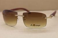 Горячие Большие на открытом воздухе 4189705 Мужчины солнцезащитные очки Большой алмаз очки без оправы Золото Вуд ВС очки вождения очки C украшения Размер: 62-18-140mm