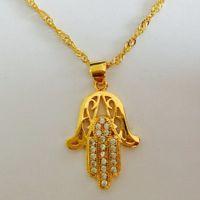 Fatima Hand Anhänger Halsketten Antik Gelb Vergoldet Frauen Man Religiöse Hot Fashion Hamsa Hand Schmuck