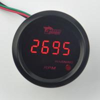 """جديد عالمي سيارة 2 """"52 ملليمتر الأحمر led الرقمية tacho مقياس سرعة الدوران rpm شحن مجاني"""