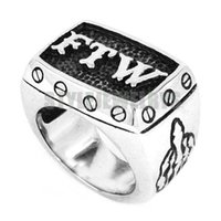 Free shipping! FTW Middle Finger Biker Ring Stainless Steel ...