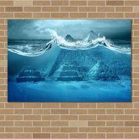 PIRAMIDE SOTTO ACQUA pittura stampe su tela, poster di canvas art home decor no frame 40x60cm