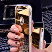 Para iPhone8 espejo de galvanoplastia cubierta de protección TPU a prueba de golpes suave y transparente para el iPhone 7 6 6 S Plus 5 5S SE Sumsung S8 S7 Plus Note8