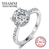 YHAMNI Wedding Pure Solid 100 % 925 스털링 슬라이버 링 1 캐럿 CZ 다이아몬드 여성을위한 빈티지 보석 JZ068