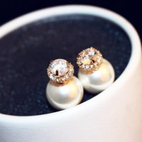 Hot Sale Luxury Top Quality Pearl Örhängen Mode Dubbelfärg Dubbelsidiga Örhängen Zircon Stud Örhängen Smycken för kvinnor Party som gåva
