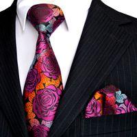 Envío gratis E12 sistemas de corbata de los hombres rosa multicolor fucsia rojo amarillo azul floral corbatas bolsillo cuadrado 100% seda nueva venta por mayor