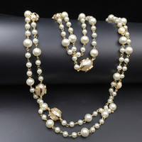 2016 Fashion Women Golden Chain Elegant beaded pearl Design long sweater chain necklaces strands/strings Christmas gift