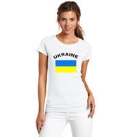 أوكرانيا النساء المشجعين يهتف t-shirt كرة القدم اللياقة الرياضية gym الصيف المرأة القمصان البيضاء الأمة العلم المطبوعة