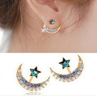 새로운 패션 라인 석 회색 핑크 블루 컬러 문 스타 펜타 그램 귀걸이 여성 XY-E960