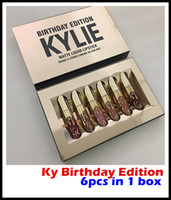 Prix ​​d'usine Kylie Cosmetics Matte Liquid Lipstick Mini Kit Lip Birthday Edition Limited Avec le Golden Box 6pcs / set
