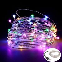 Luces de la secuencia del LED 10M 33ft 100led 5V USB alimentado al aire libre impermeable blanco cálido / RGB alambre de cobre Festival de Navidad boda decoración del banquete