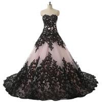 Blushing Pink Black Gothic Gown Abiti da sposa Sweetheart Appliques in pizzo Abiti da sposa vintage Abiti da sposa non bianchi Colorati