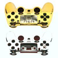 Полный корпус корпуса чехол кожи крышка кнопки набора с полными кнопками замена комплекта мод для Playstation 4 контроллер PS4 золотая щепка