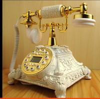 Decoração Artes Artesanato BINYEAE Antigo telefone vintage madeira casa antiga rotativa disco Telefone Fixo