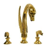 الفاخرة الذهبي براس حمام حوض صنبور مقابض مزدوجة سوان بالوعة خلاط صنبور
