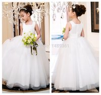 2016 A line Tank Sleeveless White Ivory Flower Girl Dresses ...
