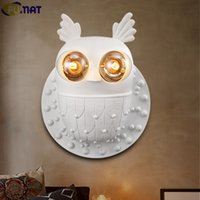 FUMAT White Resin Owl Wall Lamps Modern Restaurant Cafe Entr...