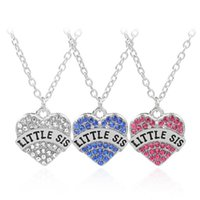 Best Friend Collana cuore LITTLE SIS Collane con pendente in strass Tre colori per regalo di collana di amici sorelle