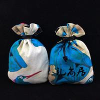 Monili eleganti Printed Pouch coulisse stile cinese regalo di Tela Lino Packaging Coin decorativo bagagli tè caramella di favore Borse
