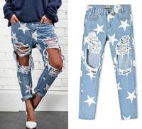 2016 Nuovo arrivo Europa Stati Uniti Abbigliamento donna Sciolto stella timbro buco jeans larghi Ms personalità della moda denim Pantaloni dritti