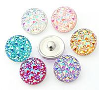 10 pz / lotto colore misto di alta qualità Rotondo resina ginger scatta Rotondo di vetro scatta Braccialetti fit 12,18,20mm bottoni bottoni gioielli kz22 noosa