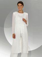 Mousseline de soie blanche manches longues mère de la mariée pantalons costumes avec longue blouse paillettes perlée robe mère de marié