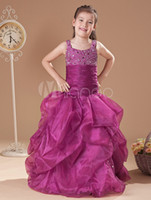 Lovely Grape cinghie Organza Perline A-Line Flower Girl Dress Abiti da spettacolo della principessa Principessa Holiday Skirt Formato personalizzato 2-14 H907040