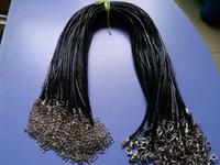 """Черный 2 мм искусственная кожа ювелирные изделия веревка ожерелье Омаров застежка шнур для DIY Craft ожерелье ювелирные изделия 20"""" 22"""" 24"""" С 2"""" Extensi"""