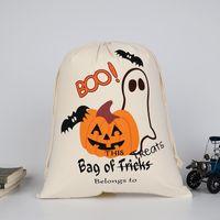 10 unids! Bolsas de regalo de Halloween 34 cm * 42 cm Lienzo de Navidad truco o trato Calabaza Araña Regalo del lazo de Navidad bolsas