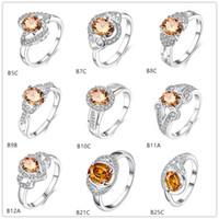 10 pezzi Mix Style Champagne Gemstone Sterling Silver Argento Placcato anelli DMMSR17, all'ingrosso Moda Futaba Doppio cuore 925 anello in argento argento
