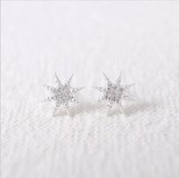 Neue Mode Rinestones Sterne Anis Sterne Schnee vergoldet Silber überzogene Ohrringe Frauen beste Geschenk einer Frau