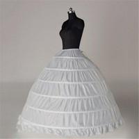 الجملة 6 الأطواق الكرة ثوب أبيض الزفاف ثوب نسائي العظام الكامل قماش قطني تول طويل منتفخ الزفاف ثوب نسائي رخيصة بسيطة في الأسهم