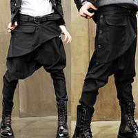 Toptan-2016 Avant-Garde Düşük Bırak Crotch erkek Casual Baggy Harem Pantolon Culotte Sweatpants Ayak Bileği Uzunluğu Pantolon M-2XL
