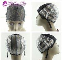 غلويليس الرباط الباروكة قبعات لصنع الباروكات تمتد الدانتيل مع الأشرطة قابل للتعديل مرة أخرى النسيج قبعة سوداء اللون